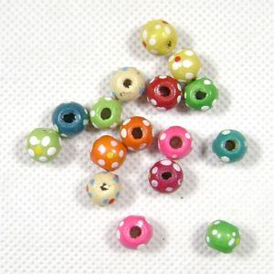 Wooden beads - round, 1cm, 16 Pieces, (MZP119)